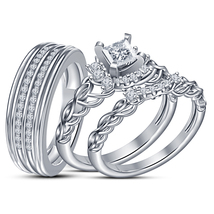 His & Her white GP Princess Cut White Cz Stylish Trio Bridal Wedding Ring Set - $162.95