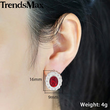 Oval Red Cubic Zircon CZ Stone Stud Earrings For Women 585 Rose Gold Wom... - $17.83