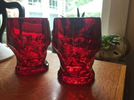 "2 Viking Glass Ruby Red Georgian Water Tumblers Glasses 4 1/8"" Tall x 3""... - $14.03"