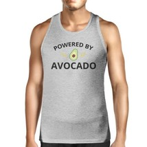 Powered By Avocado Mens Grey Cotton Tank Top Round Neck Cute Design - $14.99+