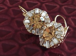 Prudence C Gold Amber Clear CZ w Swarovski Crystal Earrings NEW lever back