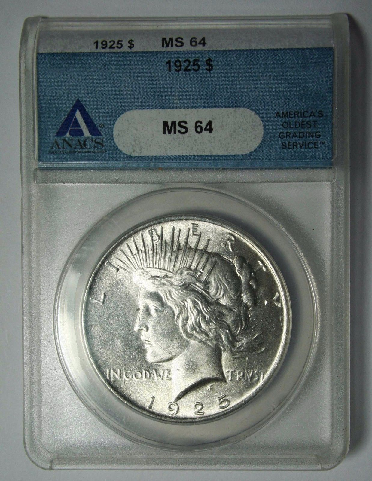 1925 Peace Silver Dollar ANACS MS64 Coin - Lot # SR 1218