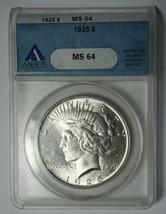 1925 Peace Silver Dollar ANACS MS64 Coin - Lot # SR 1218