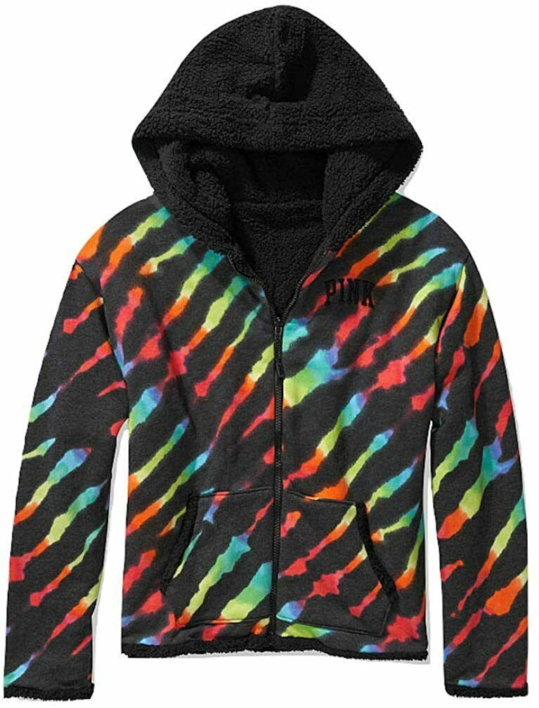 Primary image for Victoria's Secret Pink Reversible Sherpa Lined Full Zip Hoodie Rainbow Small NEW