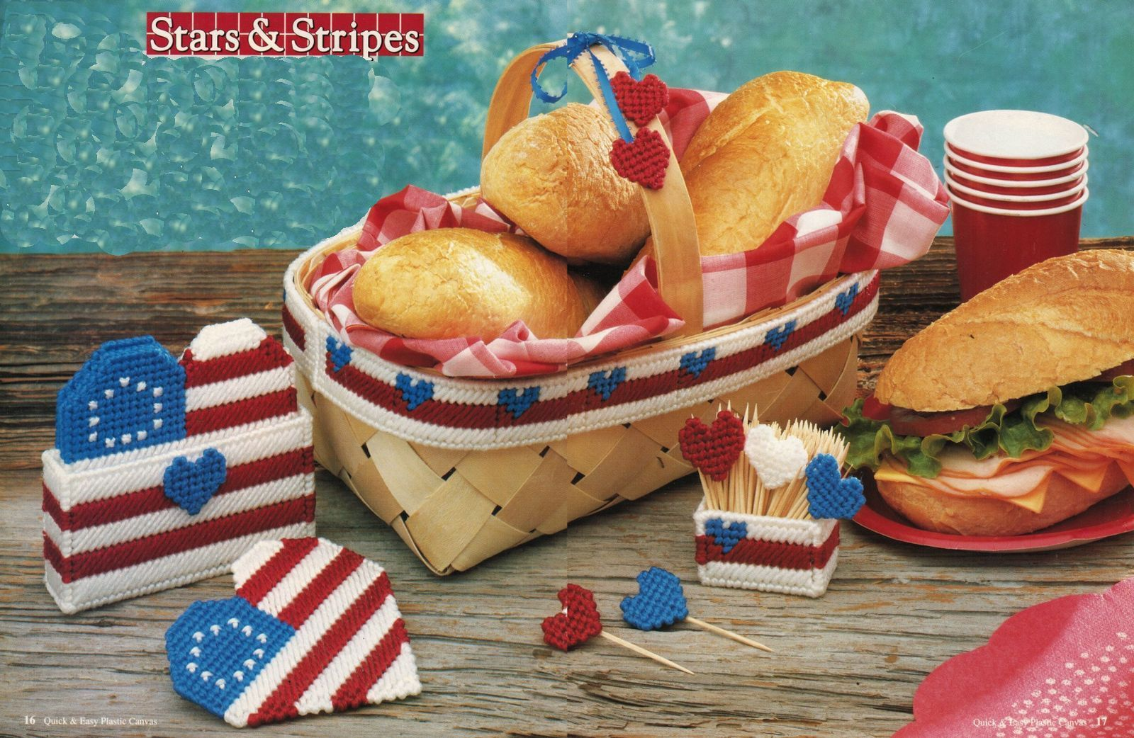 Primary image for Plastic Canvas Patriotic Picnic Set Beach Bag Key Purse Bathroom Set Patterns