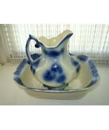 Vintage, Rare, Large, Flow Blue Pitcher and Bowl Set - $237.45