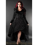 Black Evil Queen Brocade Gothic Victorian Winter Long Corset-Back Steamp... - $169.03
