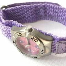 Vintage Swerve Women's Silver Purple Nylon Strap Watch Fresh Battery EXCELLENT! image 2