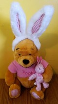 Disney Store Winnie the Pooh Plush Easter Bunny Ears Pink Shirt Gingham ... - $17.52