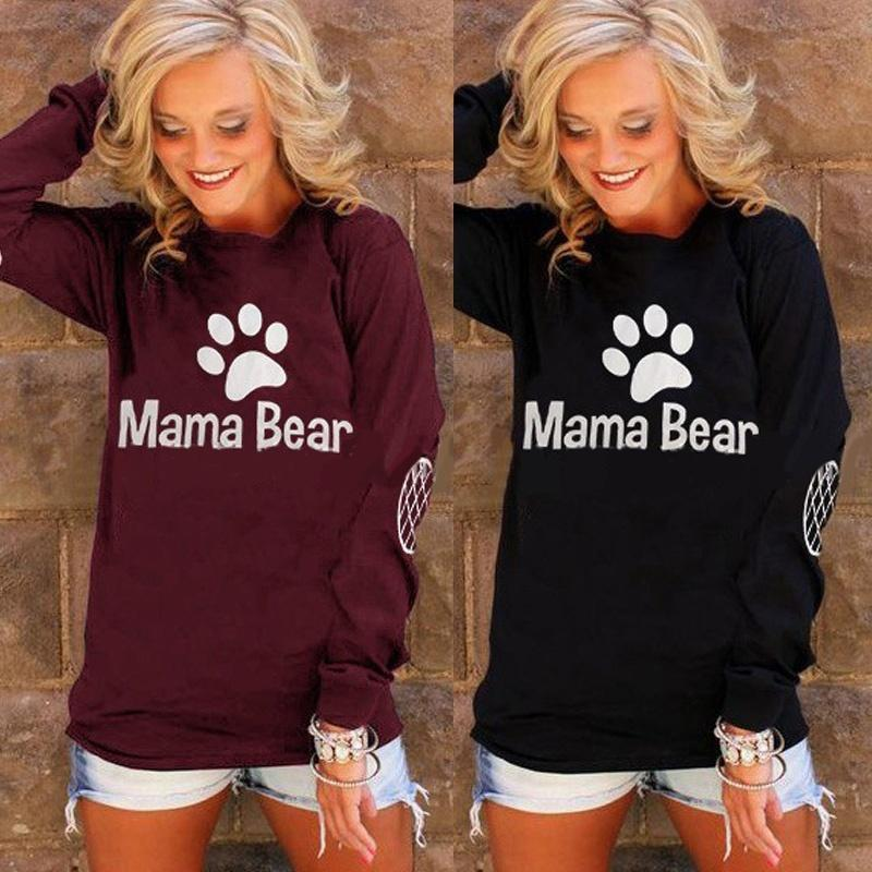 New Summer Spring Women Long Sleeve T Shirt Mama Bear Letter Printing Elbow Grid