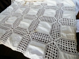 "White Cotton hand made Crochet lace Linen Squares Table Cloth 54"" x 66"" - $44.55"