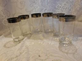 "6 Silver-rim 6 1/2"" Glasses/tumblers ala Dorothy thorpe - $29.65"