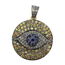14K Gold Pave Diamond Evil Eye Pendant 925 Sterling Silver Gemstone Fine... - $472.08