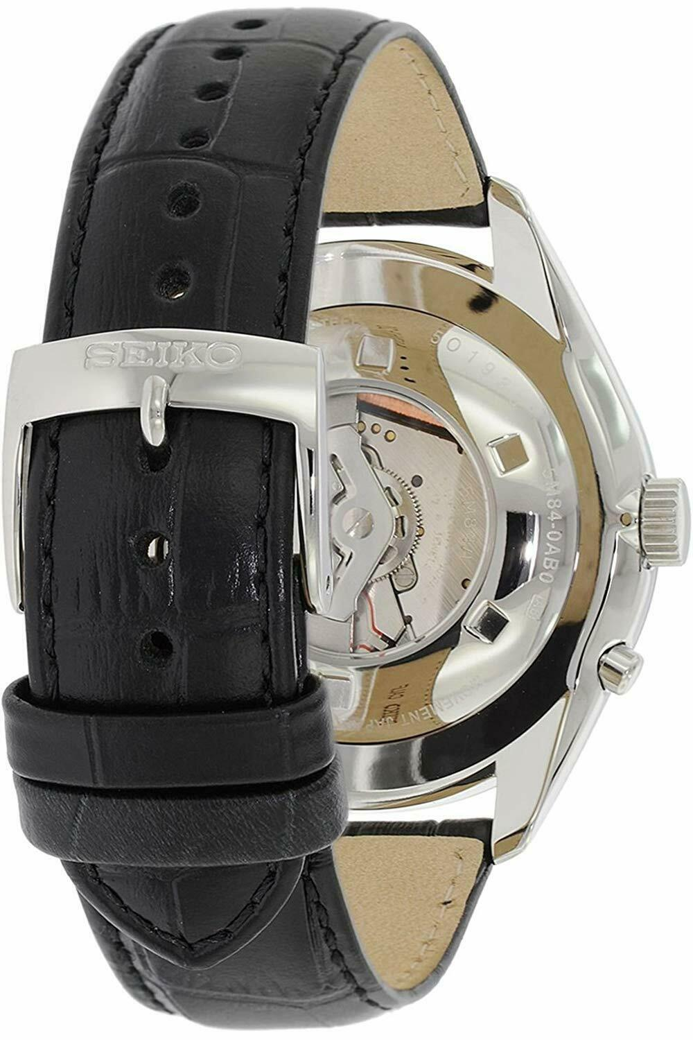 Seiko Men's SRN045P2 Kinetic Black Leather Watch