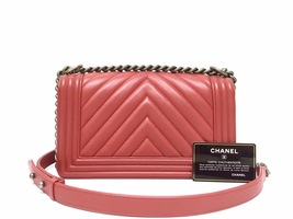 AUTHENTIC CHANEL 2018/2019 RED CHEVRON QUILTED CAVIAR MEDIUM BOY FLAP BAG RHW image 3