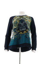 Susan Graver Weekend French Terry Top Printed Front Blue S NEW A282111 - $30.67