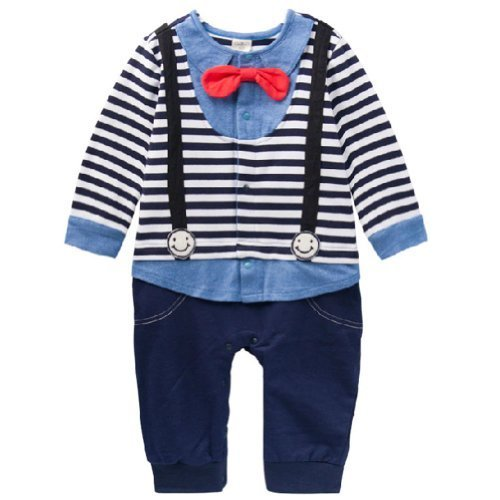 Navy Stripe Little Gentlemen Suit Baby Toddler Infant Onesies Romper Bodysuit