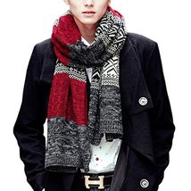 Teen Boys Mens Contrast Color Long Scarves Winter Warm Cozy Leisure Mufflers Nec image 4