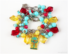 Stallion Reve Sailor Moon Charm Bracelet, Teal, Red, Orange, Silver Chain - $46.00