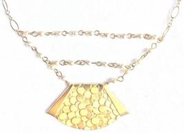 """David Aubrey Hadrien 16 """" Vergoldet Süßwasser Perlen Geprägte Anhänger Halskette"""