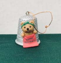 Avon Thimble Teddy Christmas Cute Ornament excellent condition - $2.48