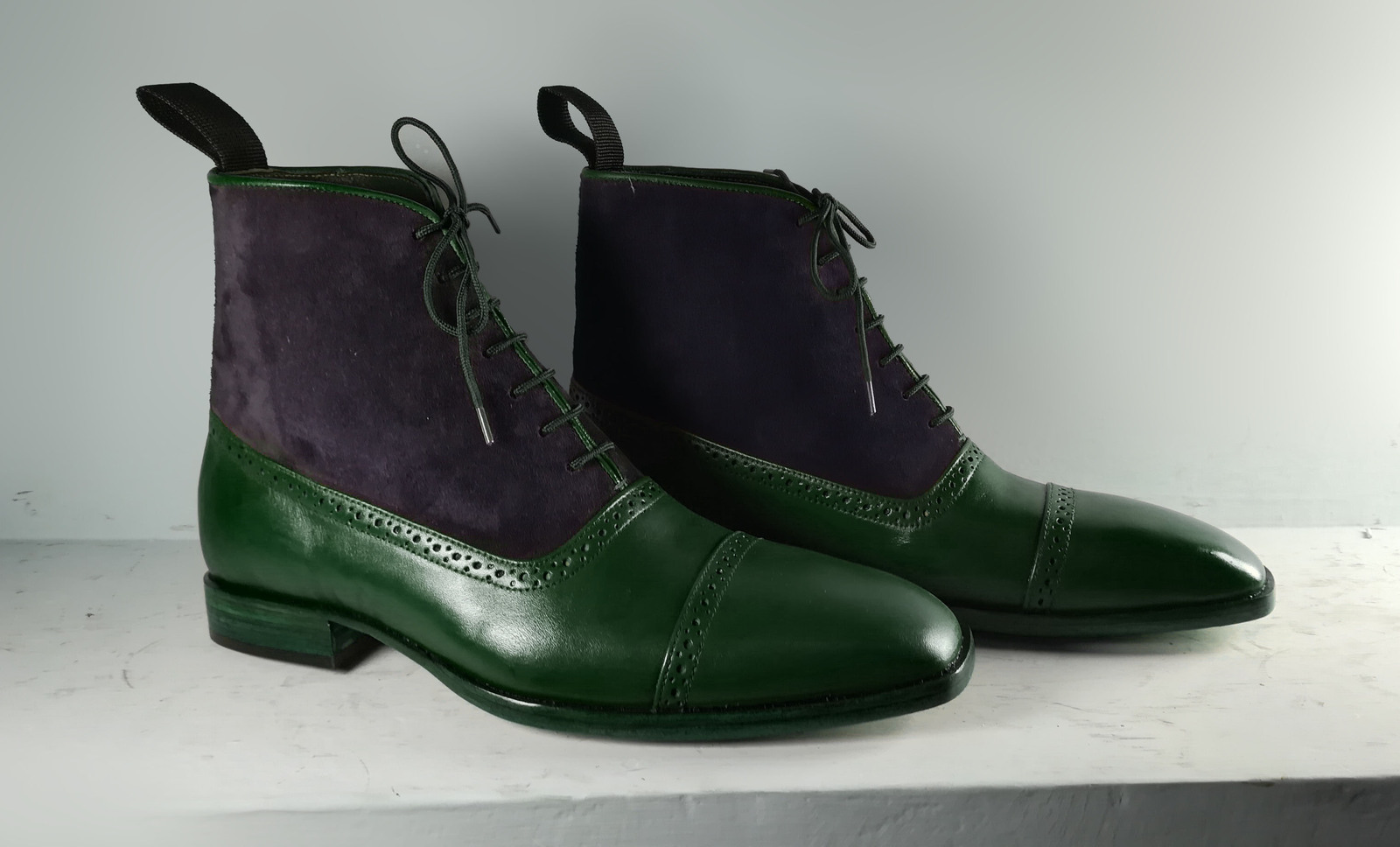 2b7591012f1ea Handmade Green Black ankle high boots, Men and 50 similar items