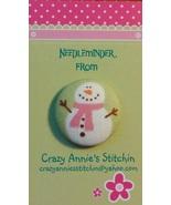 Snowman Pink Scarf Needleminder fabric cross stitch needle accessory - $7.00