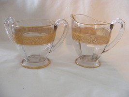 Elegant Glass Open Sugar Bowl & Cream Pitcher Gold Encrusted Mint Condition - $29.95