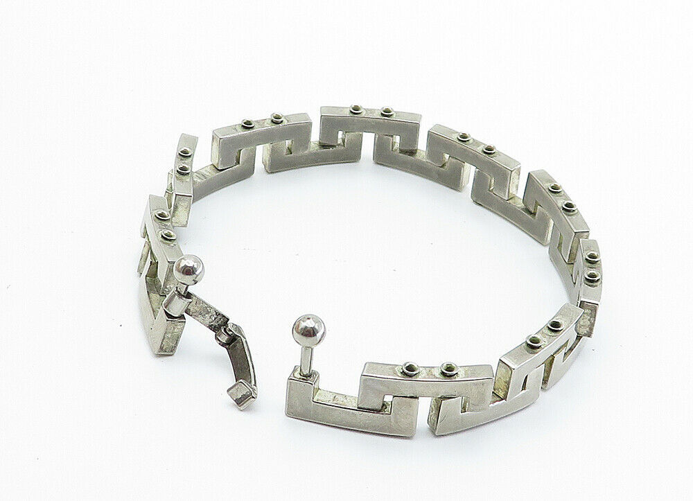 925 Sterling Silver - Vintage Shiny Greek Key Link Chain Bracelet - B6011 image 3