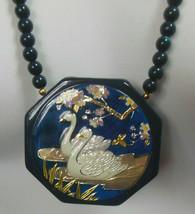 Vintage Signed Japan Ceramic Floral/Swan Raised Etching Pendant Necklace - $26.24