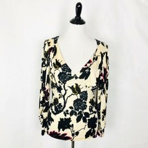 Diane Von Furstenberg Top Floral Pattern V Neck Top Blouse Women Size L - £28.91 GBP