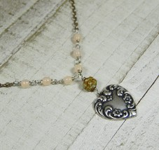 Sterling Silver Plated Victorian Heart Choker with Pale Pink Czech Opali... - $17.99