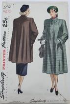VTG 1947 Sewing Pattern Simplicity #2232 Bust 34 Hip 37 Womens Coat Guer... - $22.30