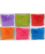 Set of 2 Shaggy Fur Toss Throw Pillows, Many Colors  - $27.98