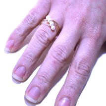 18K ROSE GOLD MAGICWIRE BAND RING, ELASTIC WORKED MULTI WIRES, DIAGONAL PEARLS image 2
