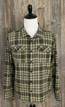 PUMA ~Big Sean Shirt Button Front Medium Green Plaid Spell-Out On The Back  - $39.59
