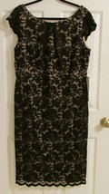 """Gorgeous Lace Dress 1X Black Nude B42"""" H44"""" L42"""" Special Occasion by ABS - $32.99"""