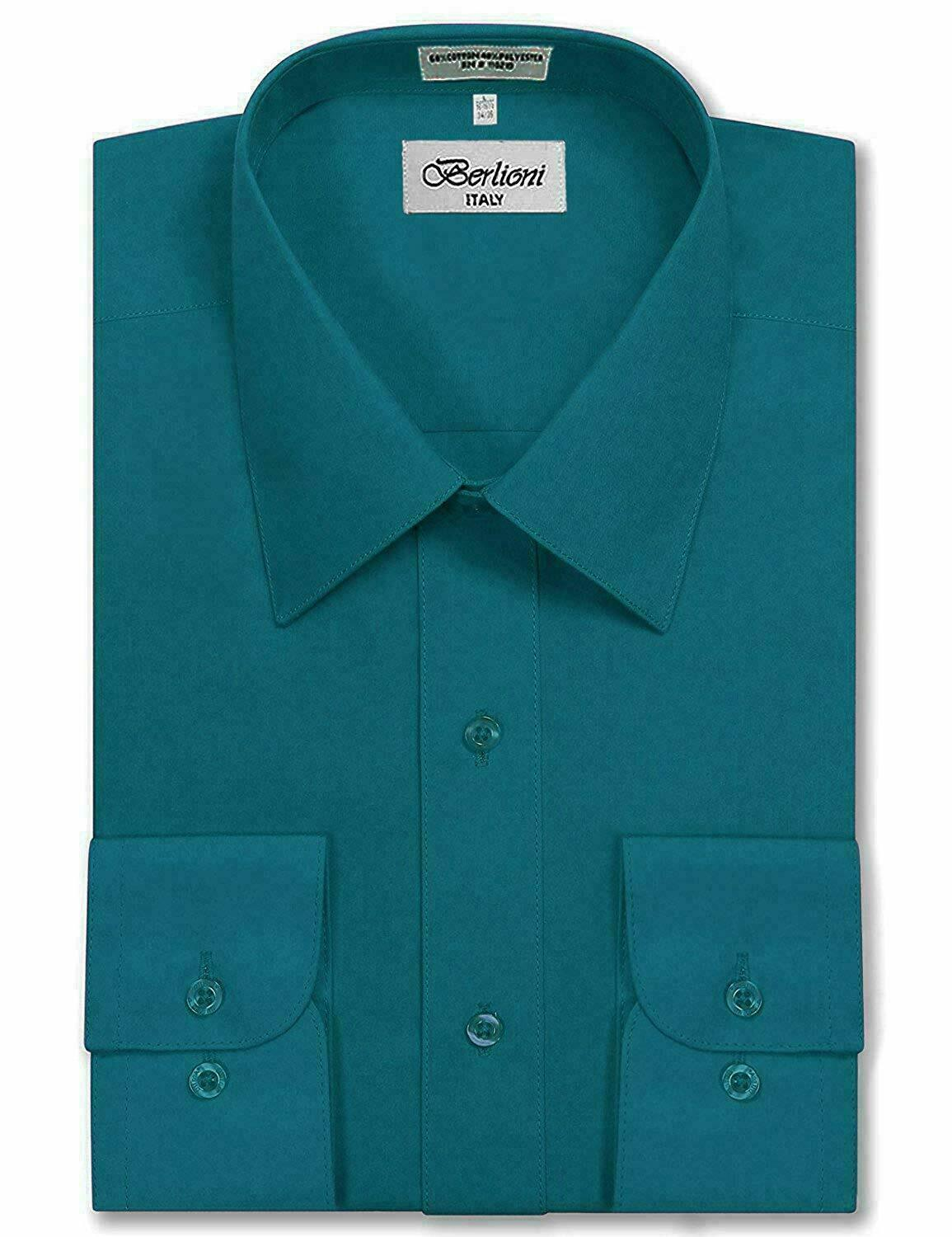 Berlioni Italy Men's Premium Classic French Standard Cuff Teal Dress Shirt - L