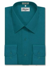 Berlioni Italy Men's Premium Classic French Standard Cuff Teal Dress Shirt - L image 1