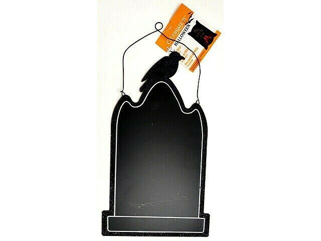 Celebrate It Halloween Metal Headstone with Raven Hanging Blank Sign #187120