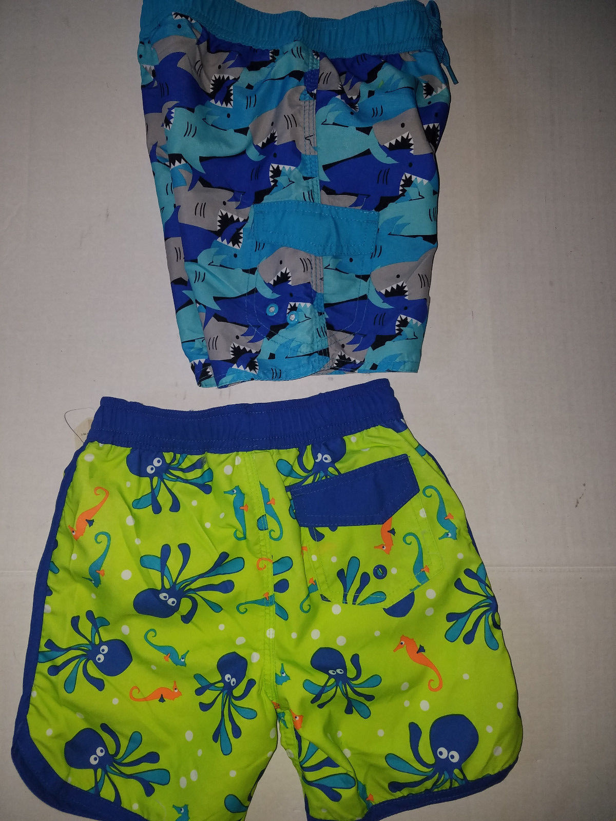 4T  NWT BABY BUNS Boys Swim Rashguard//Swim Trunks Blue//Yellow Set UPF50  Sz-3T