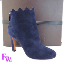 New AZZEDINE ALAIA Size 6 BOTTINES Blue Suede Scallop Ankle Boots Bootie... - $439.00