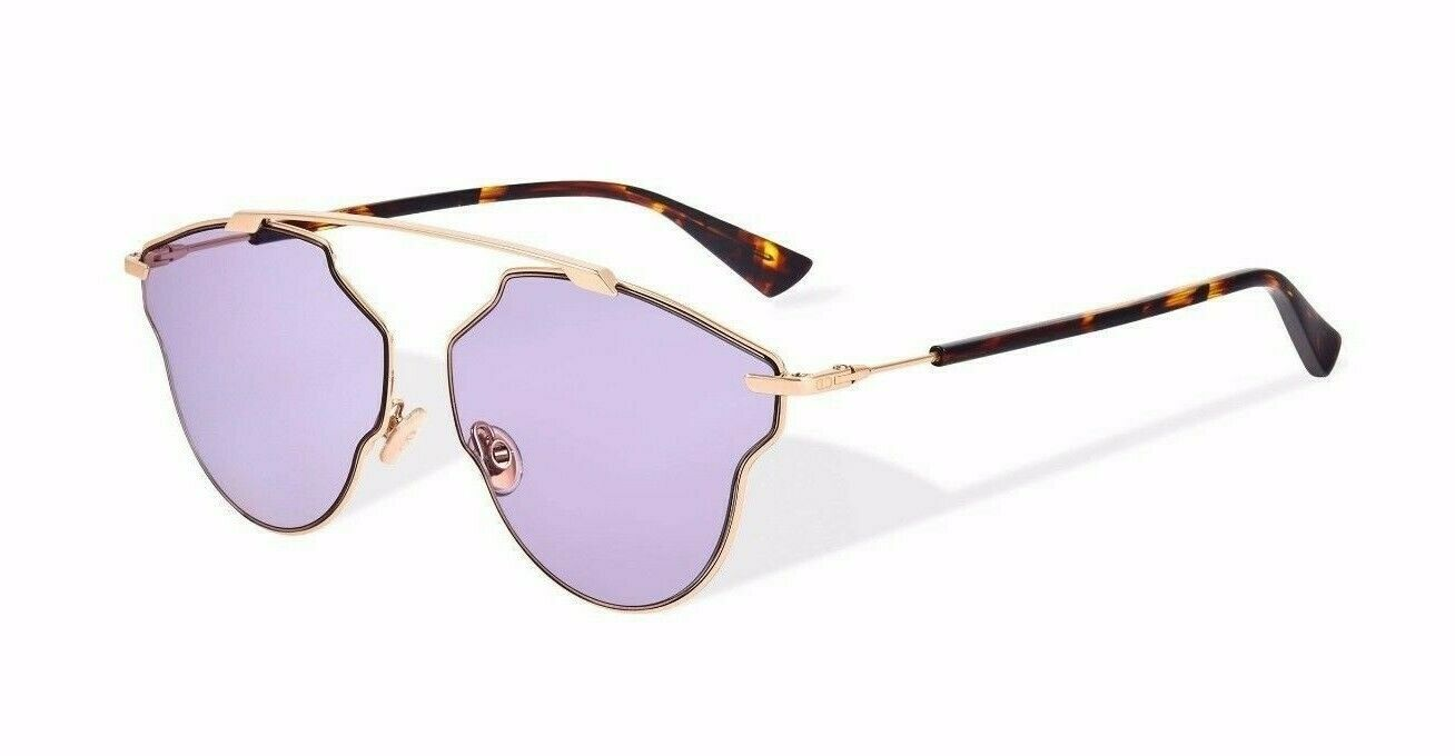 Primary image for CHRISTIAN DIOR SO REAL POP Gold Lilac Havana Aviator Sunglasses SOREALPOP