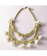 Ethnic Tribal Gold Tone White Tassel Bib Statement Bohemian Necklace - $25.74