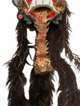 "Vintage Asian Tribal Mask Hand Carved Wood Wall Art East Java Indonesia 41x11"" image 4"