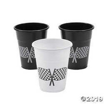 Disposable Plastic Cups with Checkered Flag Design - $11.61