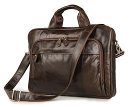 "Men Genuine Real Leather 15."" Laptop Portfolio Briefcase Messenger Shoul... - $93.52"