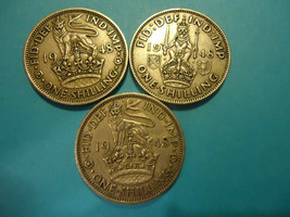 1948 ONE SHILLING (3 COIN LOT) - 1 SCOTTISH CREST - 2 ENGLISH CREST - US... - $14.80