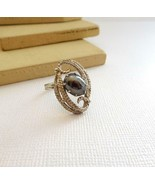 Vintage Sarah Coventry Hematite Silver Tone Mid-Century Ring Size 7 Y1 - $12.86
