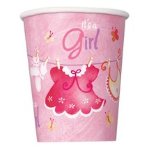 Pink Clothesline Baby Shower 9 oz Paper Cups 8 Ct Birthday Party Supplies New - $2.92